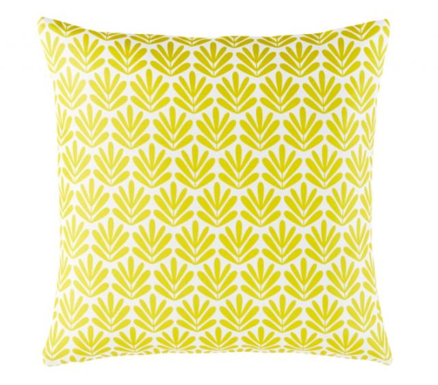 coussin deco jardin jaune motifs