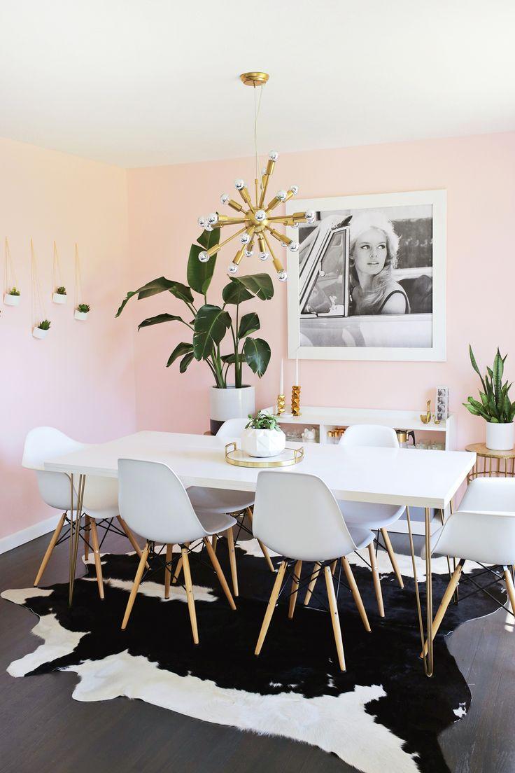 deco salle a manger murs rose pastel
