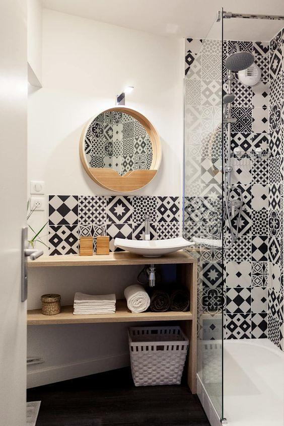 carreaux de ciment salle de bain deco motif