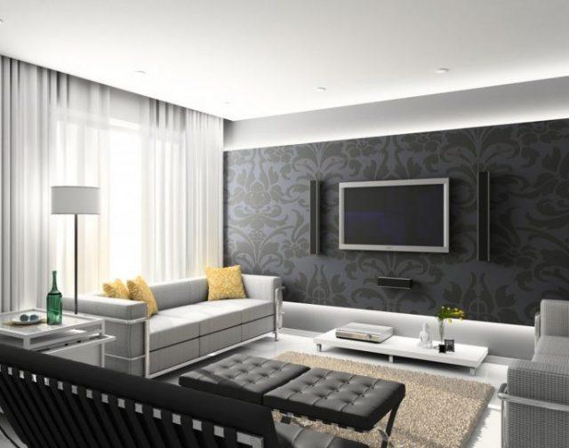 decoration salon classique gris noir et blanc