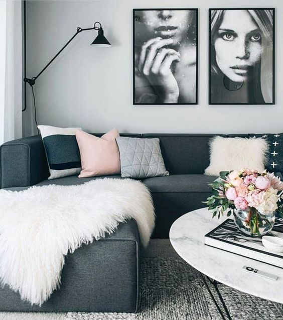 decoration tendance salon gris