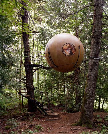 jardin aménagement ludique cabane arbre