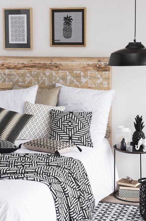 linge de lit motif noir et blanc deco