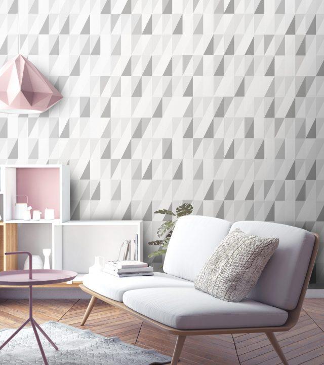 papier peint salon gris geometrique