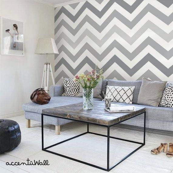 papier peint salon tendance gris