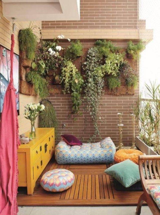 balcon cosy plante mobilier couleur