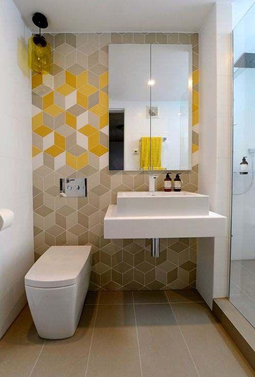 cabinet de toilette carrelage jaune decoration