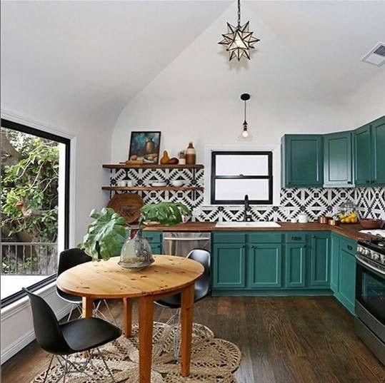 cuisine deco mobilier peinture vert