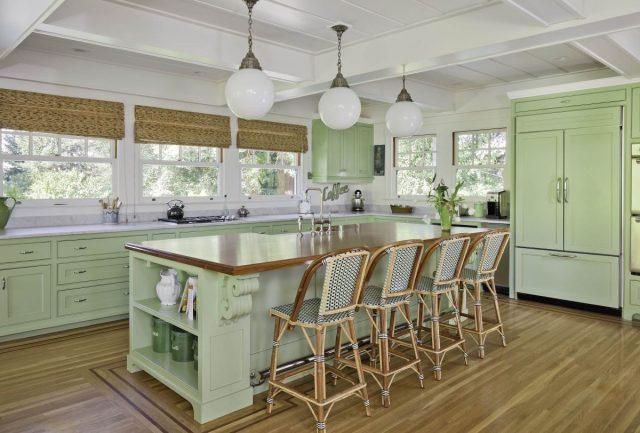 cuisine decoration interieur mobilier vert