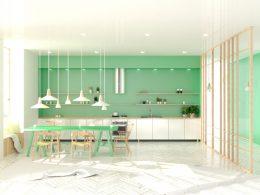 deco design cuisine vert blanc tendance