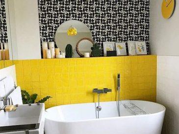 inspiration deco salle de bain jaune couleur