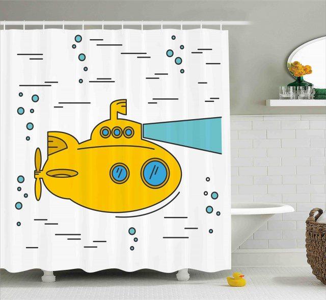 rideau de douche yellow submarine deco salle de bain