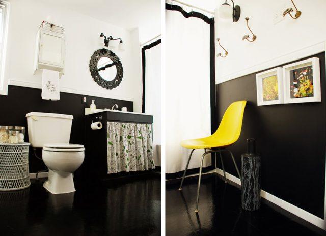 salle de bain deco blanc noir jaune