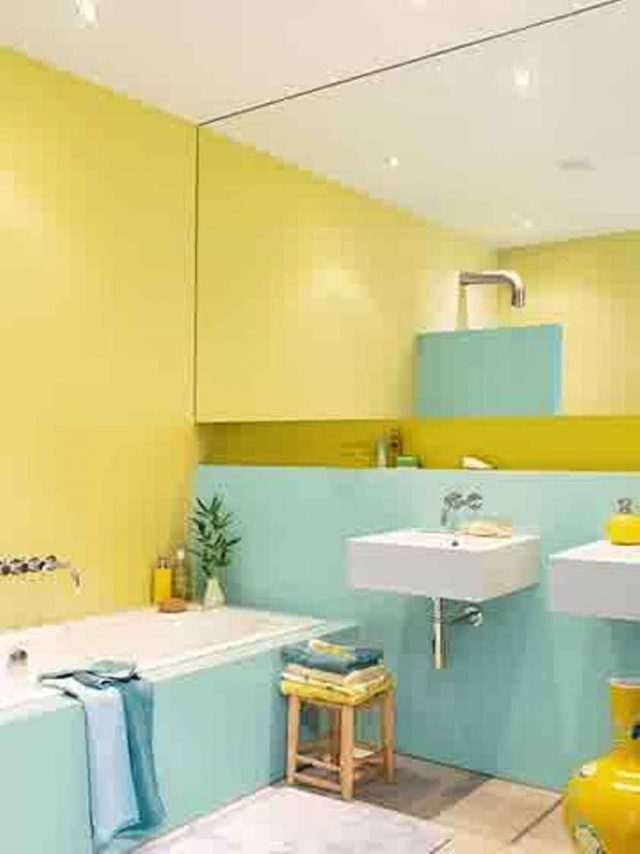 Du jaune dans la salle de bain cocon d co vie nomade - Decoration salle de bain jaune et bleu ...