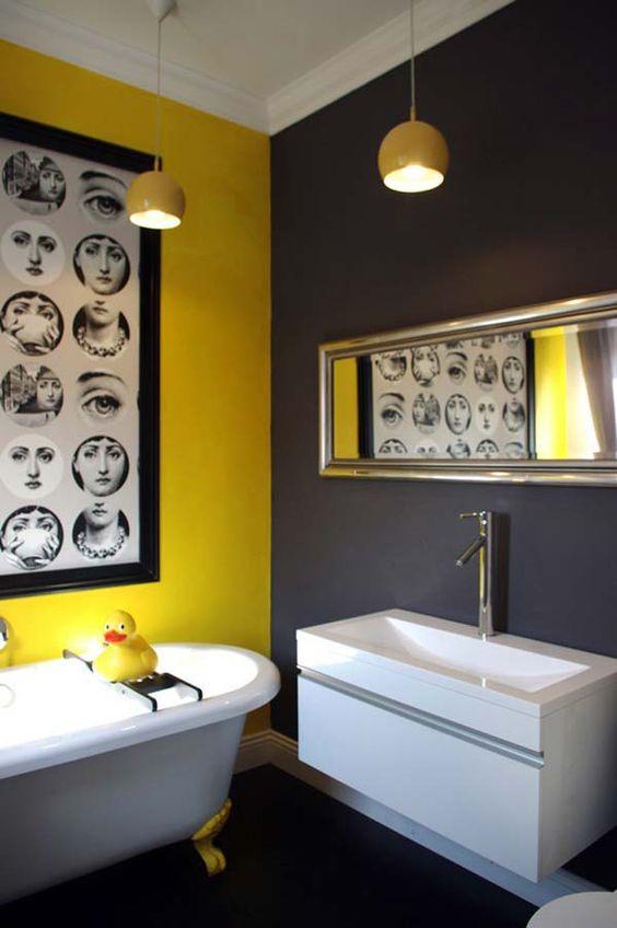 salle de bain deco tendance jaune et gris antracite