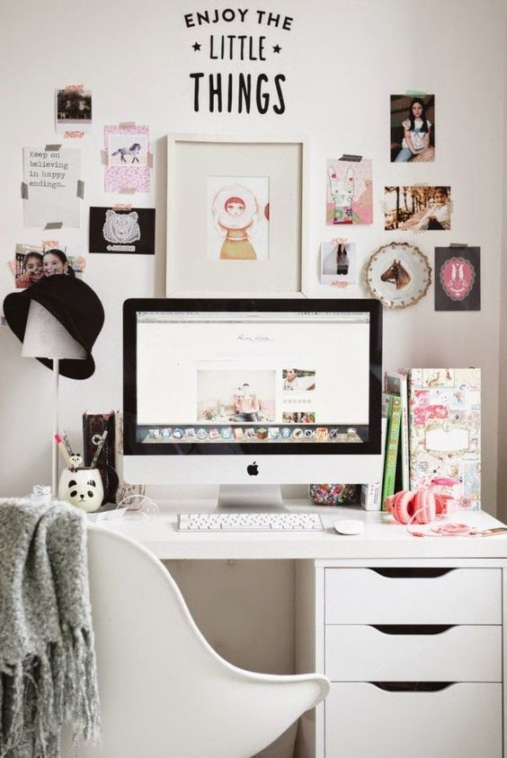 bureau chambre decoration blanc