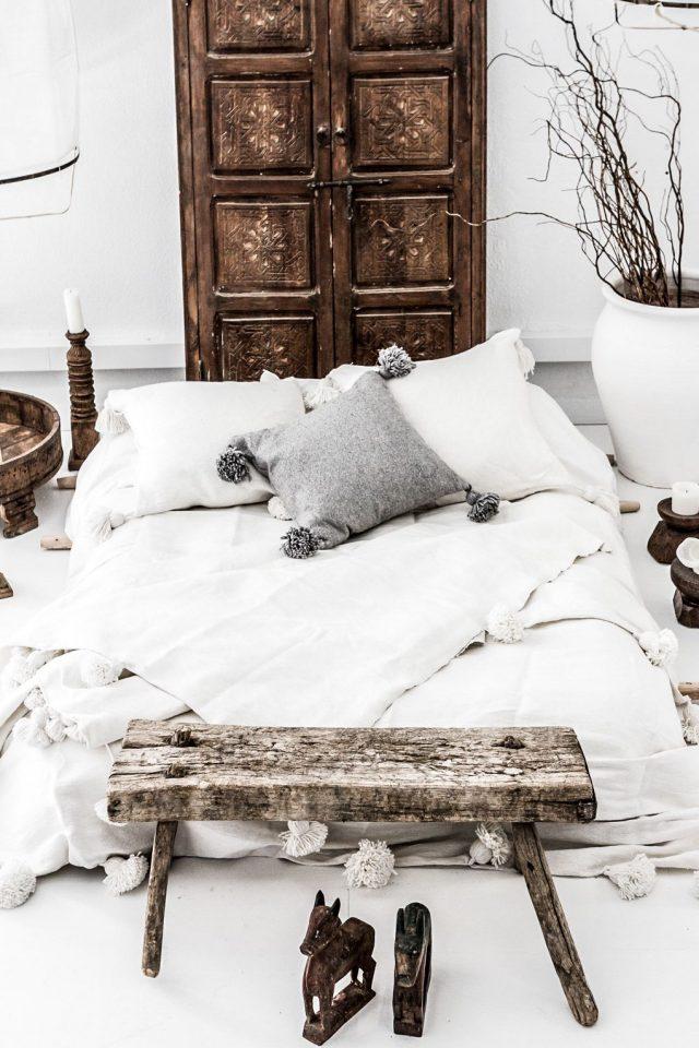 chambre wabi sabi blanc bois gris