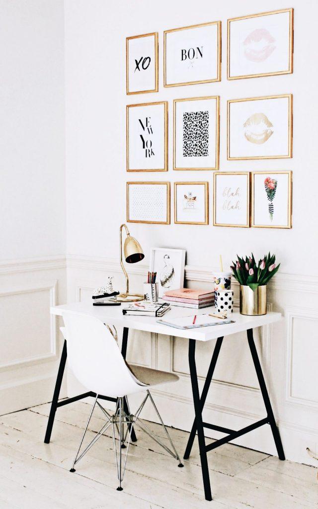 deco blanc et or bureau