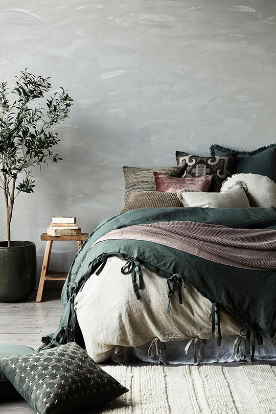 deco chambre wabi sabi linge de lit couleur