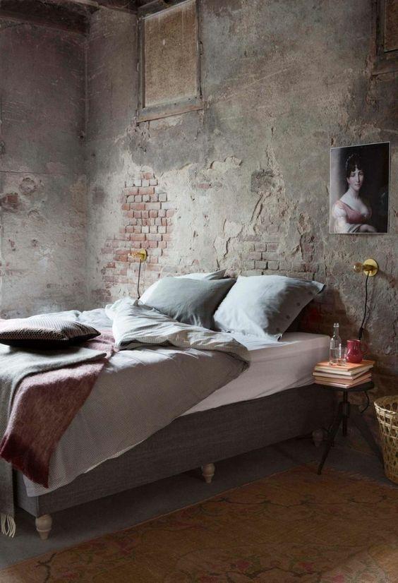 deco chambre wabi sabi mur brique
