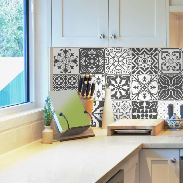 deco cuisine carrelage stickers carreaux ciment