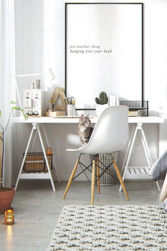 deco maison bureau balnc moderne