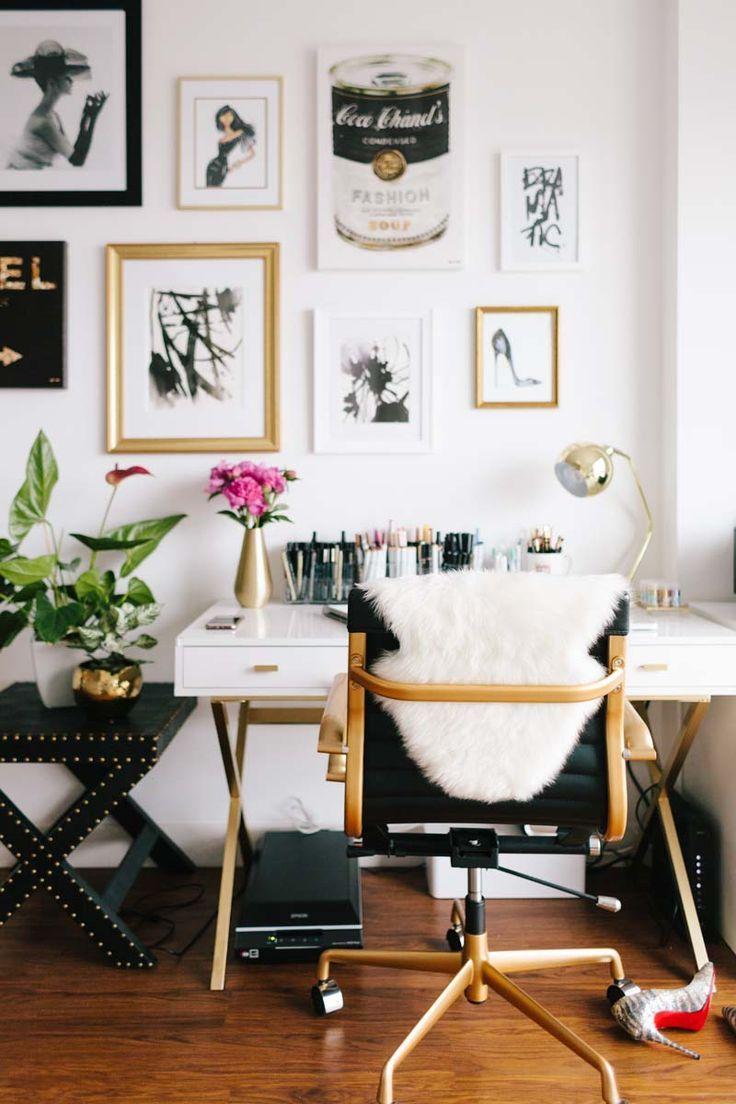 decoration bureau blanc et or