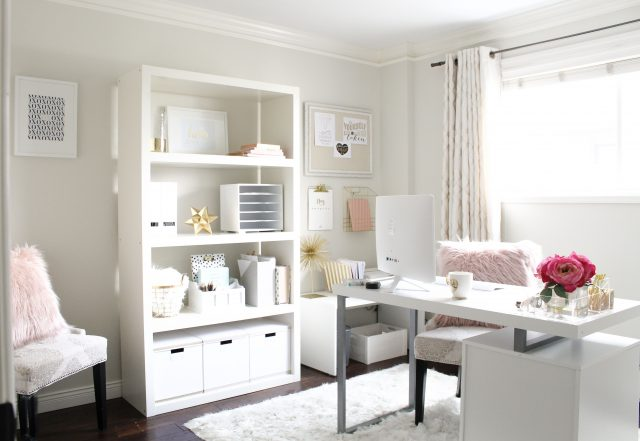 decoration bureau blanc feminin