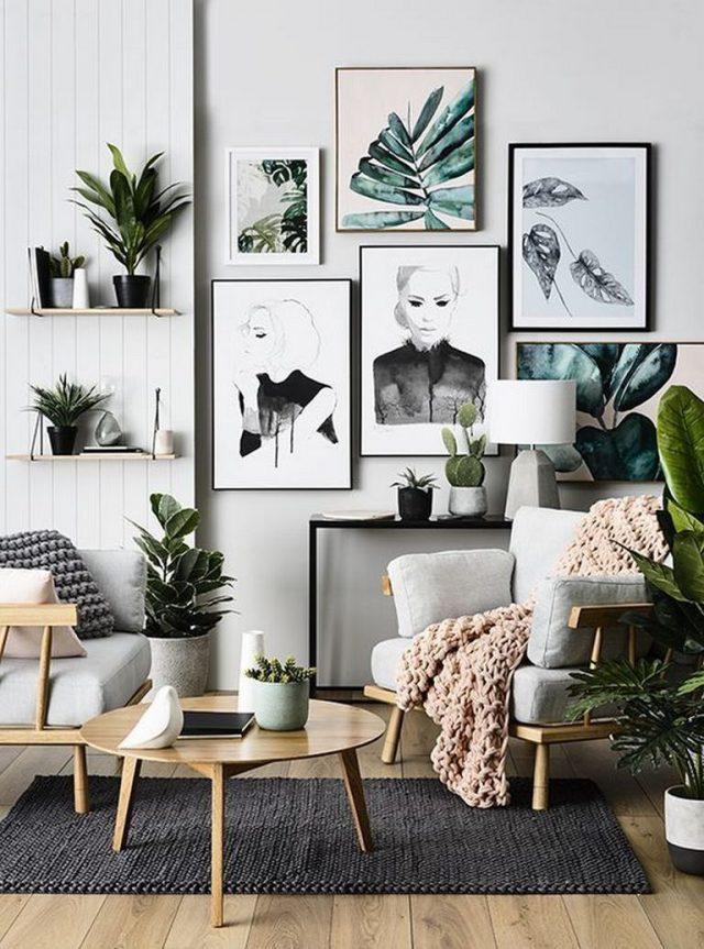 decoration mur plante salon urban nature