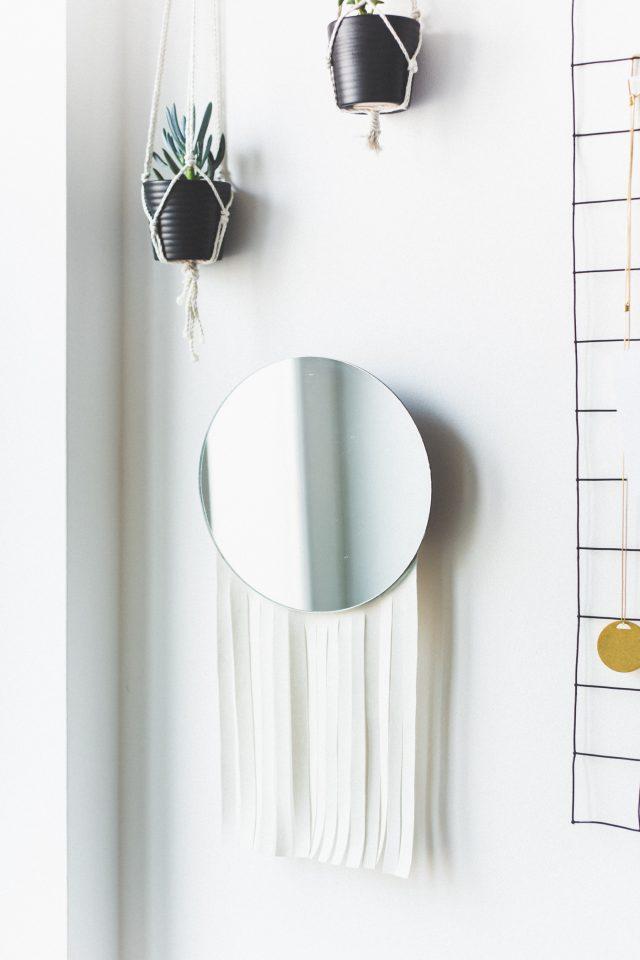 diy miroir frange cuir tendance