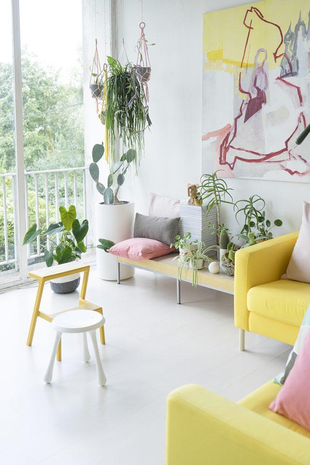 idee deco urban nature salon colore
