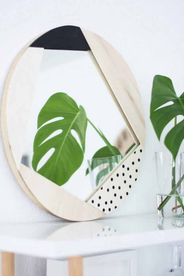 miroir geometrique bois contemporain et scandinave