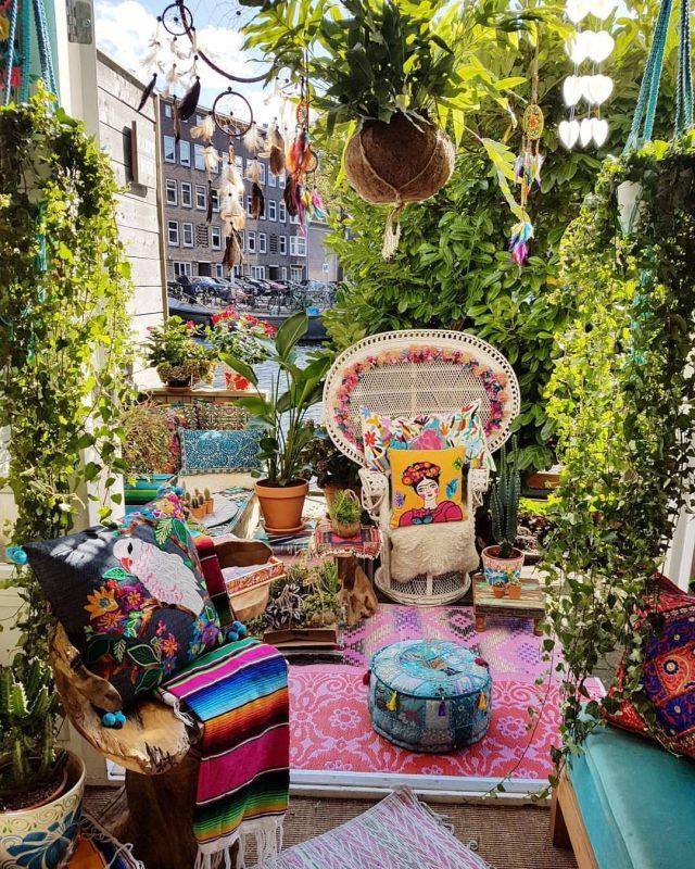 petit balcon boho chic decoration
