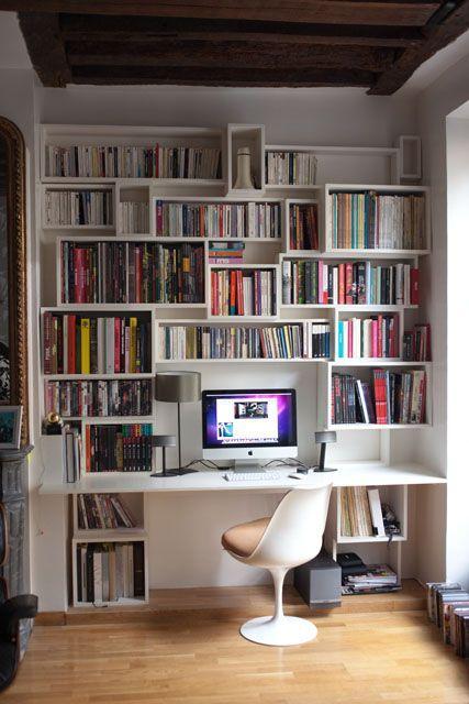bureau bibliotheque rangement idee