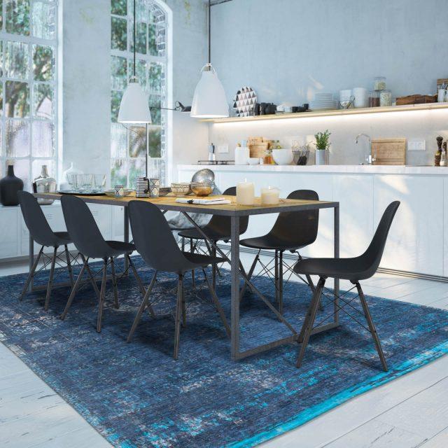 deco salle a manger tapis bleu