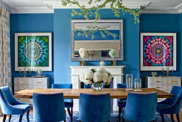 decoration salle a manger bleue