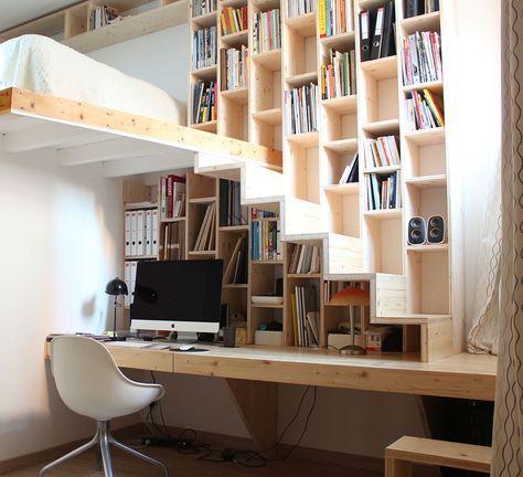 idee deco rangement buerau petit espace bibliotheque