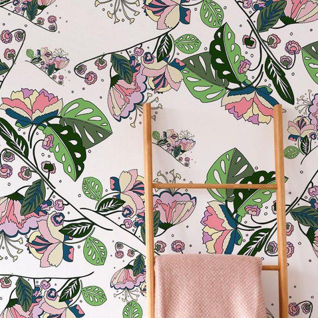 papier peint motif fleur deco