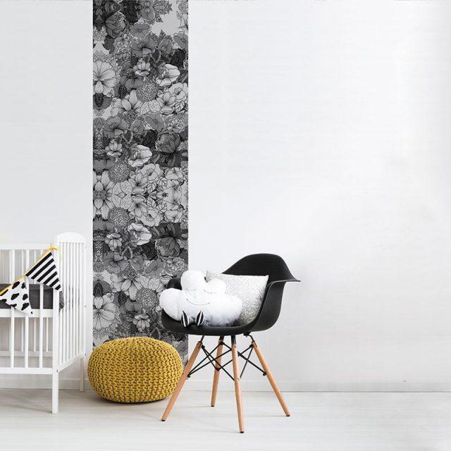 papier peint motif fleut noir et blanc