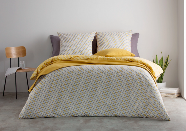 parure de lit deco gris et jaune