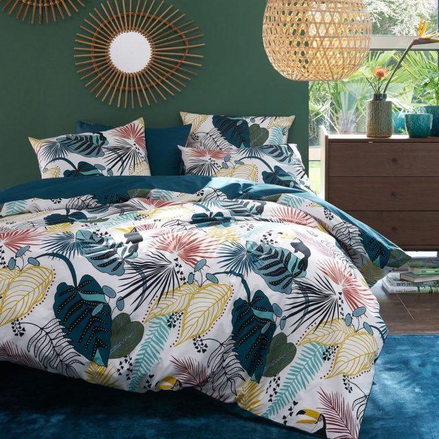 parure de lit deco plantes couleurs