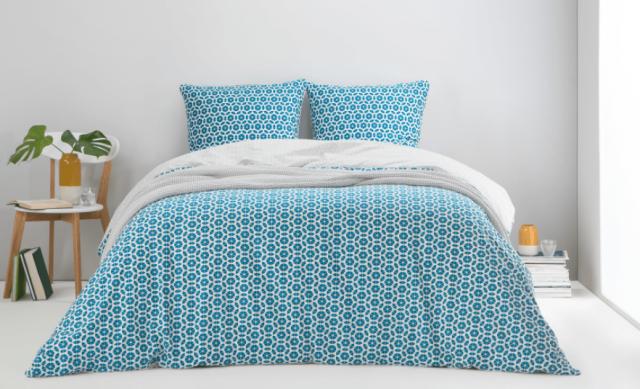 parure de lit geometrie bleue