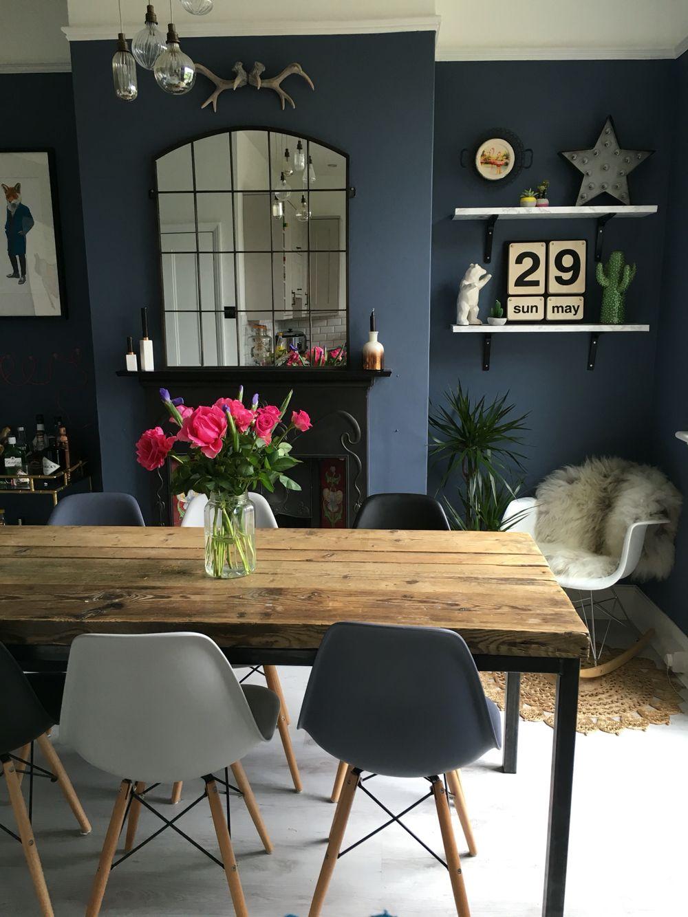 peinture deco salle a manger bleue