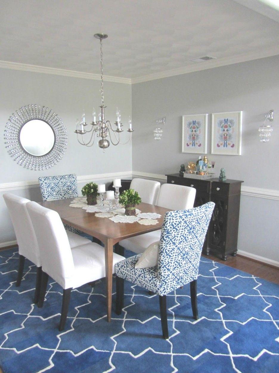 salle a manger bleu tapis deco