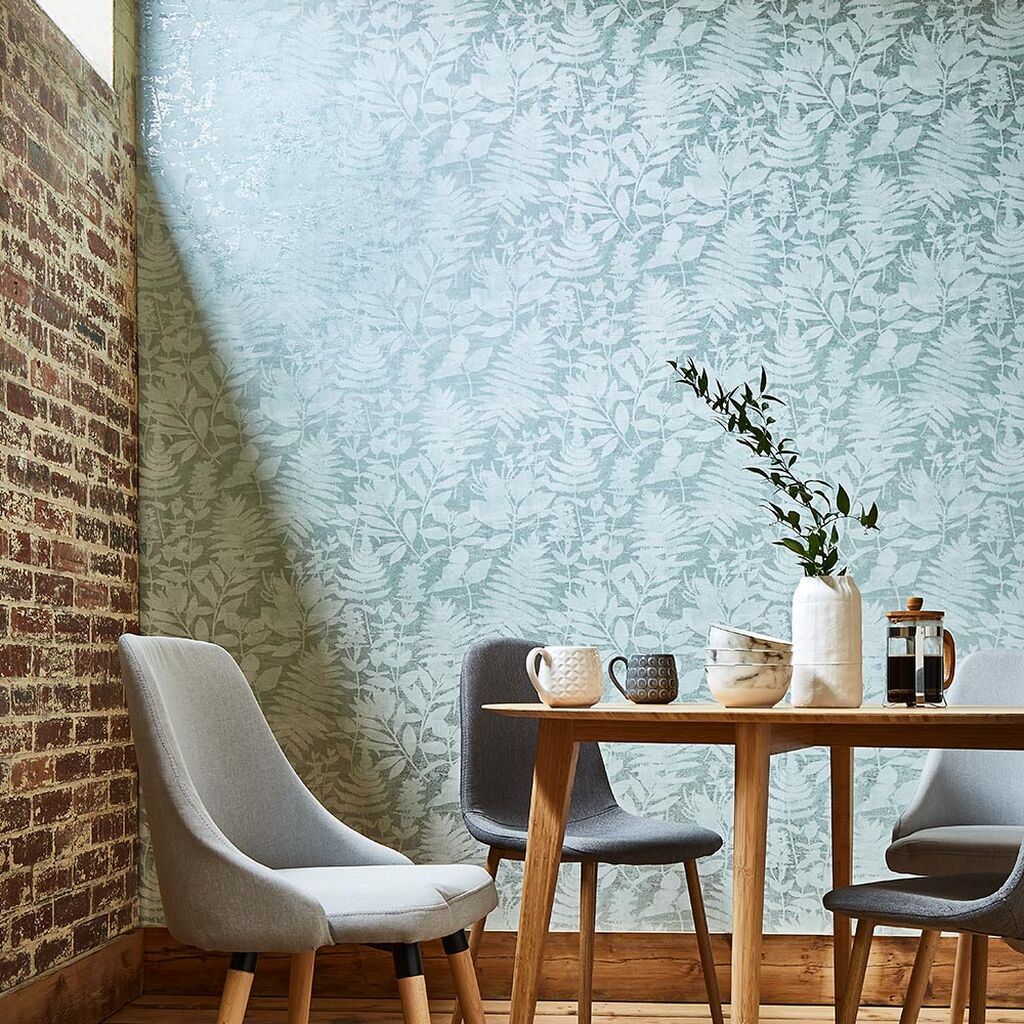 salle a manger papier peint bleu vert tropical