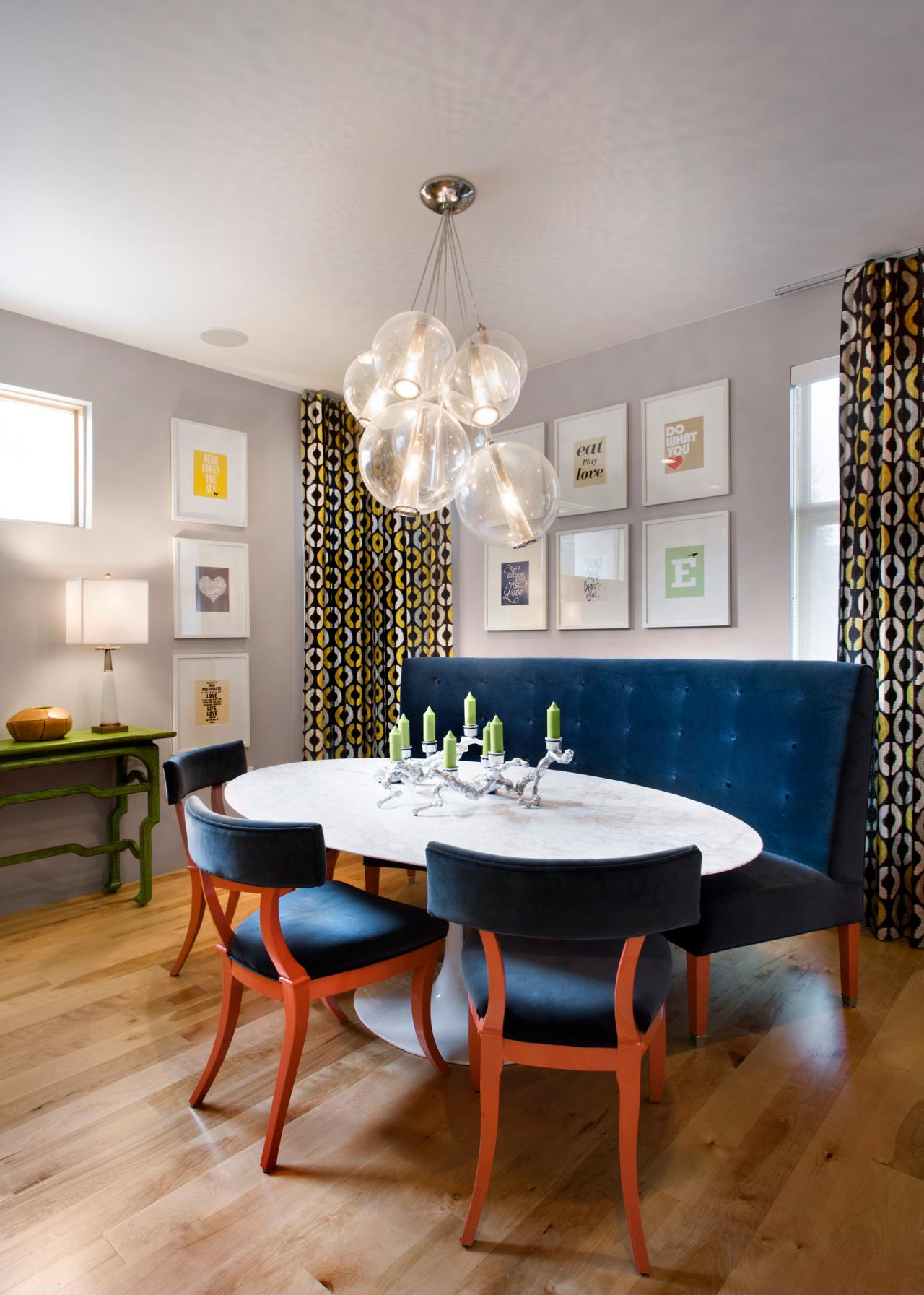 salle a manger bleu mobilier velours
