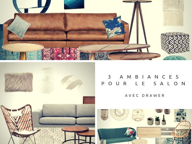 3 ambiances deco salon drawer tendance