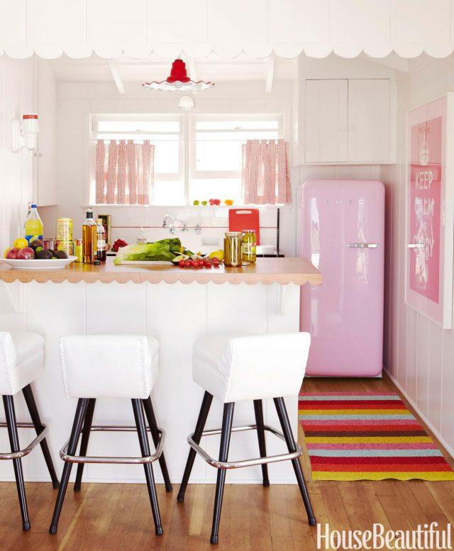 accessoire cuisine rose frigo affiche retro
