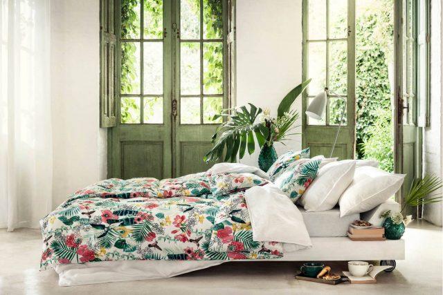 decoration plante chambre parure de lit