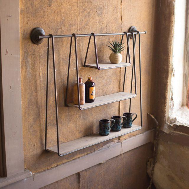 etagere suspendue bois et metal